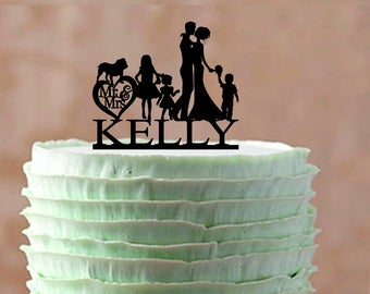 Family Wedding cake topper With a bulldog, Mr and Mrs Wedding Cake topper, Silhouette Family Wedding Cake Topper with a children