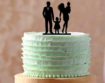 Bride and groom and little boy Family Wedding cake topper, Unique Wedding cake topper, Funny cake topper, Silhouette Wedding Cake topper