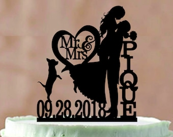 Bride and Groom Wedding Cake Topper With a dog or Cat, Mr and Mrs Wedding Cake Topper, Silhouette Personalized Wedding Cake Topper, Unique