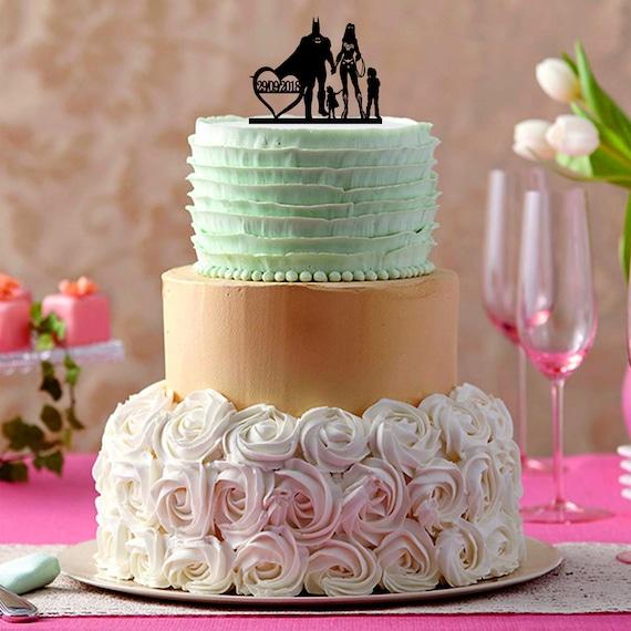 Batman And Wonder Woman Cake Topper Bride And Groom Wedding Etsy