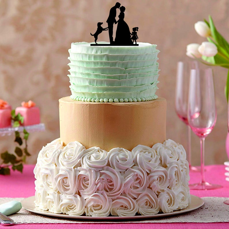 Family Wedding Cake Topperwith Dog And Little Girl Funny Etsy