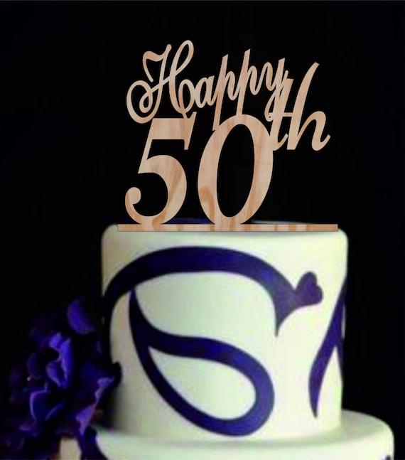 Heureux 50 Topper Gâteau De Th Topper De Gâteau Anniversaire Etsy