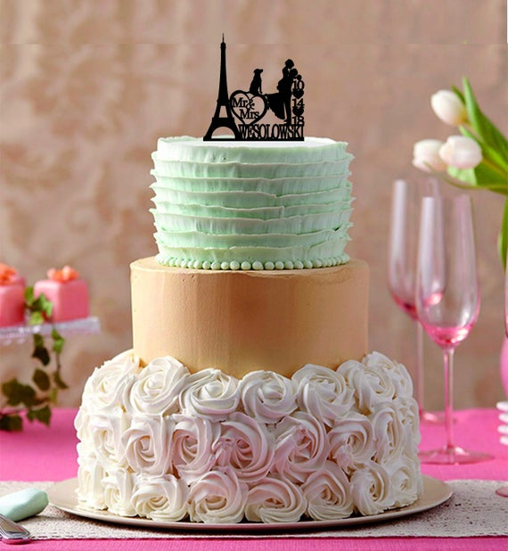 Wedding Cake Topper Personalized Eiffel Tower Paris Silhouette | Etsy