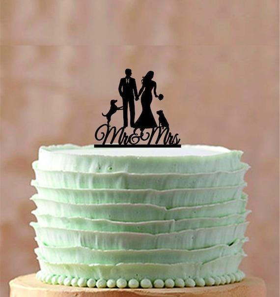 Unique Wedding Cake Topper Silhouette Custom Wedding Cake Topper Gateaux De Mariage Personnalises Drole De Mariage Gateau Un Chien Deux