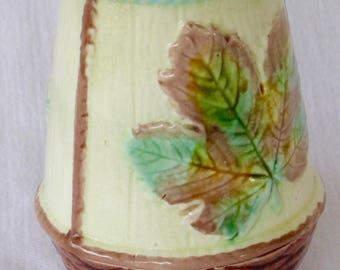 Antique Majolica Art Pottery Toothbrush Caddy