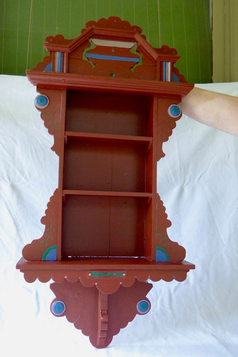 Vintage Repurposed Wall Clock Case into a Curio Shelf, Oak Overpainted in  Iron Oxide and Blue Pastel Paint