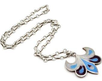 Sterling Aqua White Purple Enameled Lily Like Pendant Necklace