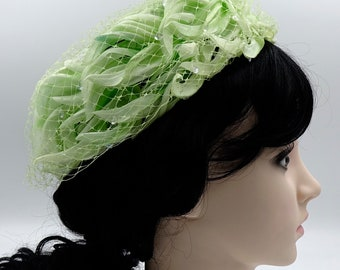 Light Green Pillbox Hat With Netting Womens Vintage