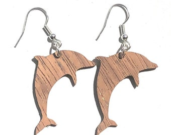 Handmade Wooden Dolphin Earrings