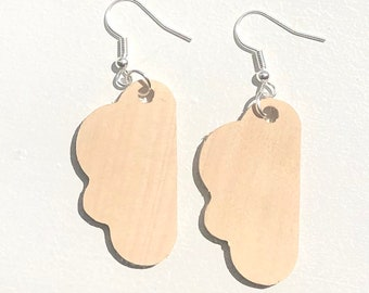 Handmade Wooden Cloud Earrings