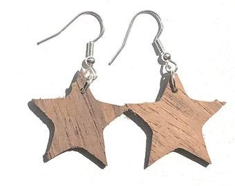 Handmade Wooden Star Drop Earrings