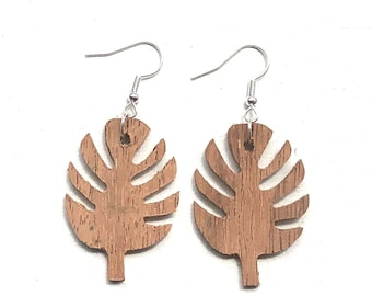 Handmade Wooden Palm Leaf Drop Earrings