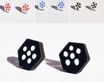Handmade Wooden Hexagon Flower Stud Earrings