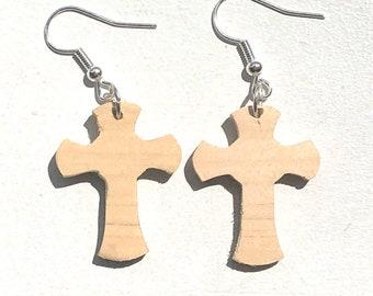 Handmade Wooden Celtic Cross Drop Earrings