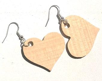 Handmade Wooden Heart Earrings