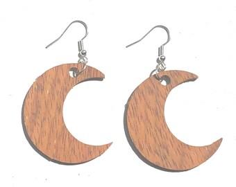 Handmade Wooden Crescent Moon Earrings