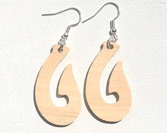 Handmade Wooden Fish Hook Drop Earrings