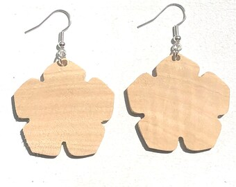 Handmade Wooden Flower Earrings