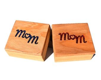 Wood Glass Mom Jewellery Trinket Boxes