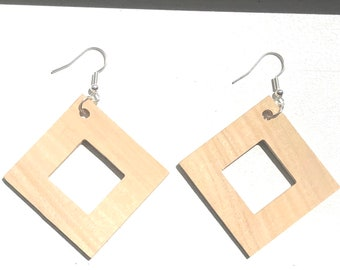 Handmade Wooden Square Cut Out  Earrings
