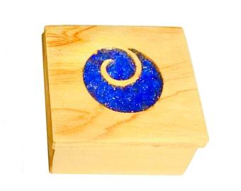 Wood Glass Koru Jewellery Trinket Boxes