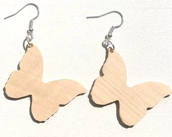 Handmade Wooden Butterfly Earrings