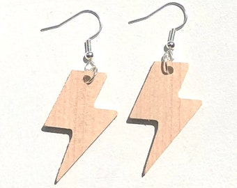 Handmade Wooden Lightning Bolt Earrings