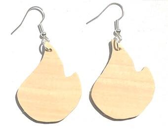 Handmade Wooden Flame Earrings
