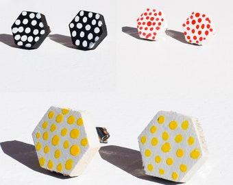 Handmade Wooden Hexagon Stud Earrings