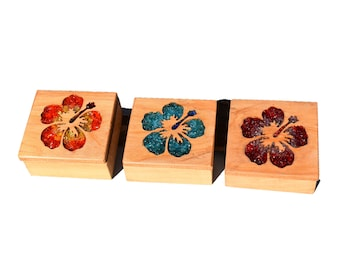 Wood Glass Hibiscus Jewellery Trinket Boxes
