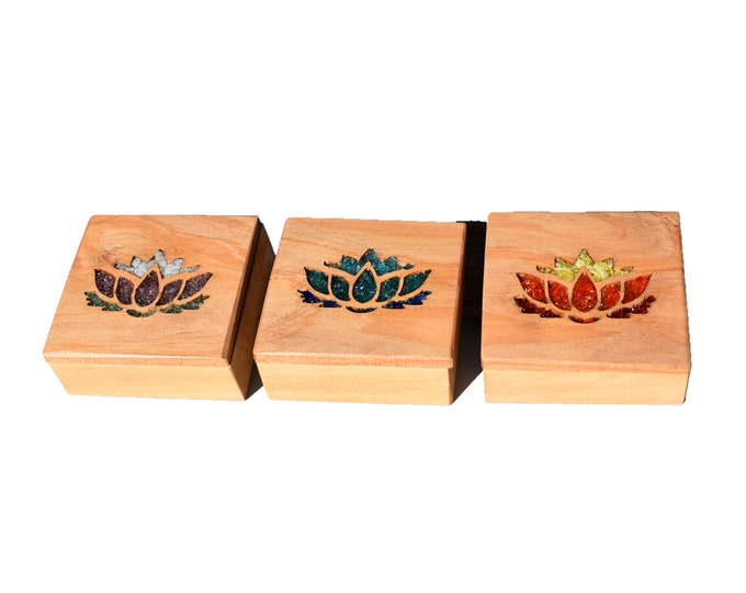 Featured listing image: Wood Glass Lotus Flower Jewellery Trinket Boxes