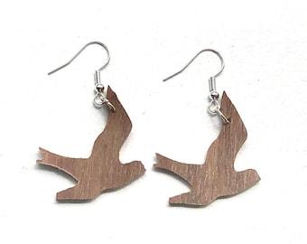 Handmade Wooden Swallow Drop Earrings