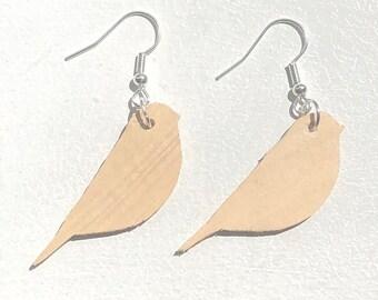 Handmade Wooden Fat Bird Earrings
