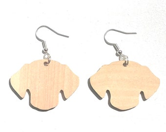 Handmade Wooden Dog Earrings