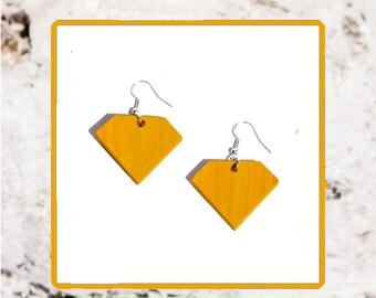 Handmade Wooden Diamond Drop Earrings