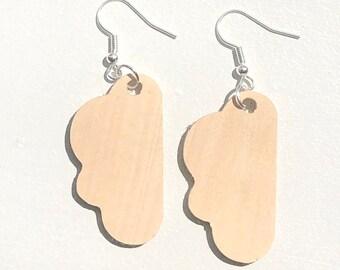 Handmade Wooden Cloud Earrings