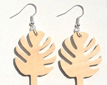 Handmade Wooden Palm Leaf Drop Earrings
