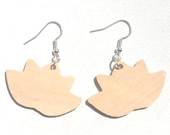 Handmade Wooden Lotus Flower Earrings