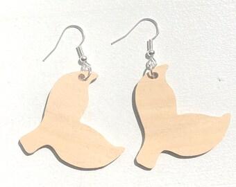 Handmade Wooden Mermaid Tail Earrings