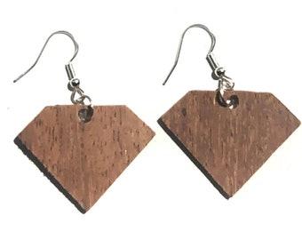 Handmade Wooden Diamond Earrings
