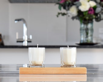 Limited Editon - Apple Cinnamon Glass Candles with Wooden Base