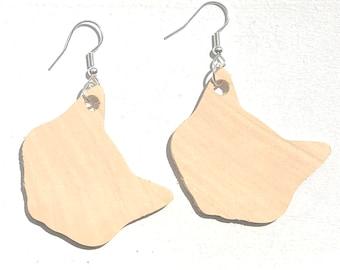 Handmade Wooden Cat Earrings