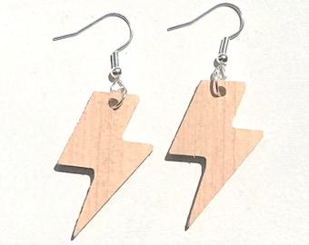 Handmade Wooden Lightning Bolt Earrings