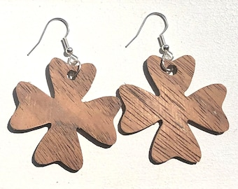 Handmade Wooden Four Leaf Clover Earrings