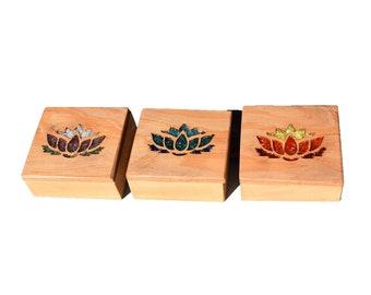 Wood Glass Lotus Flower Jewellery Trinket Boxes