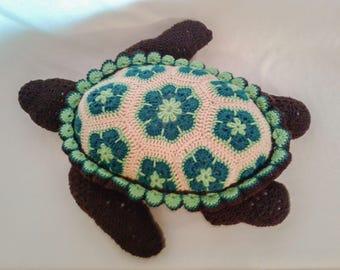 Large Crochet Animal Sea Turtle Pillow