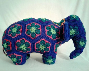 Large Crochet Stuffed Animal Elephant Pillow