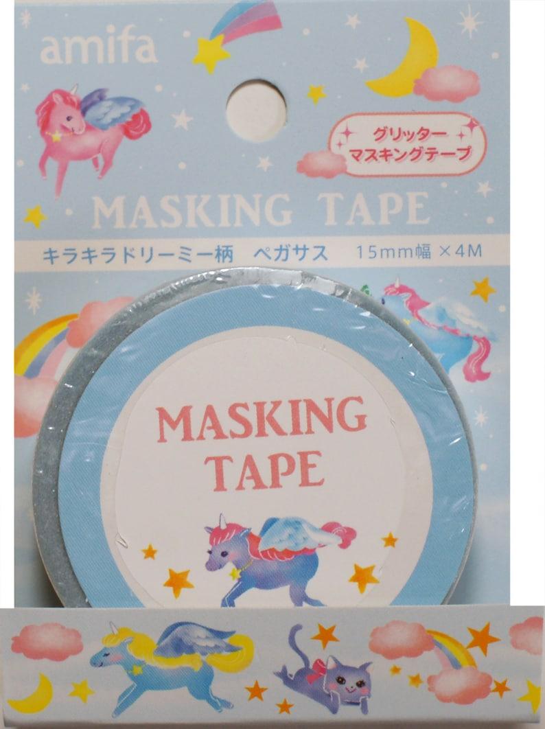 Unicorn Sweet Glitter Washi TapeMasking Tape 15mm x 4 meters