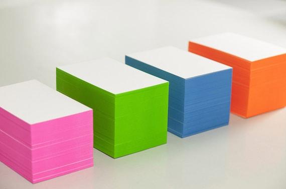 Visitenkarten Neutral Neon Pink Farbschnitt 50 Stü