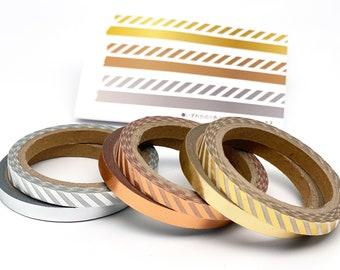 Metallic strips, washi tape/ 7.5 mm x 6 m